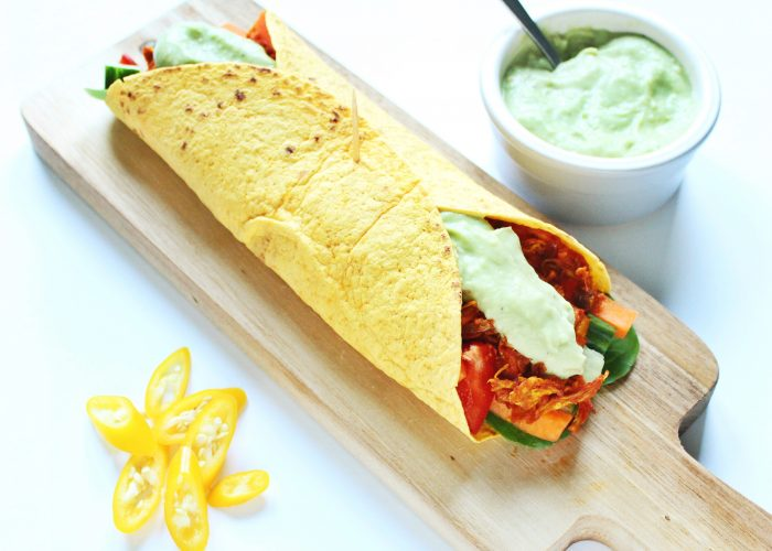 Avondeten | wortel wrap met pulled chicken ketchup