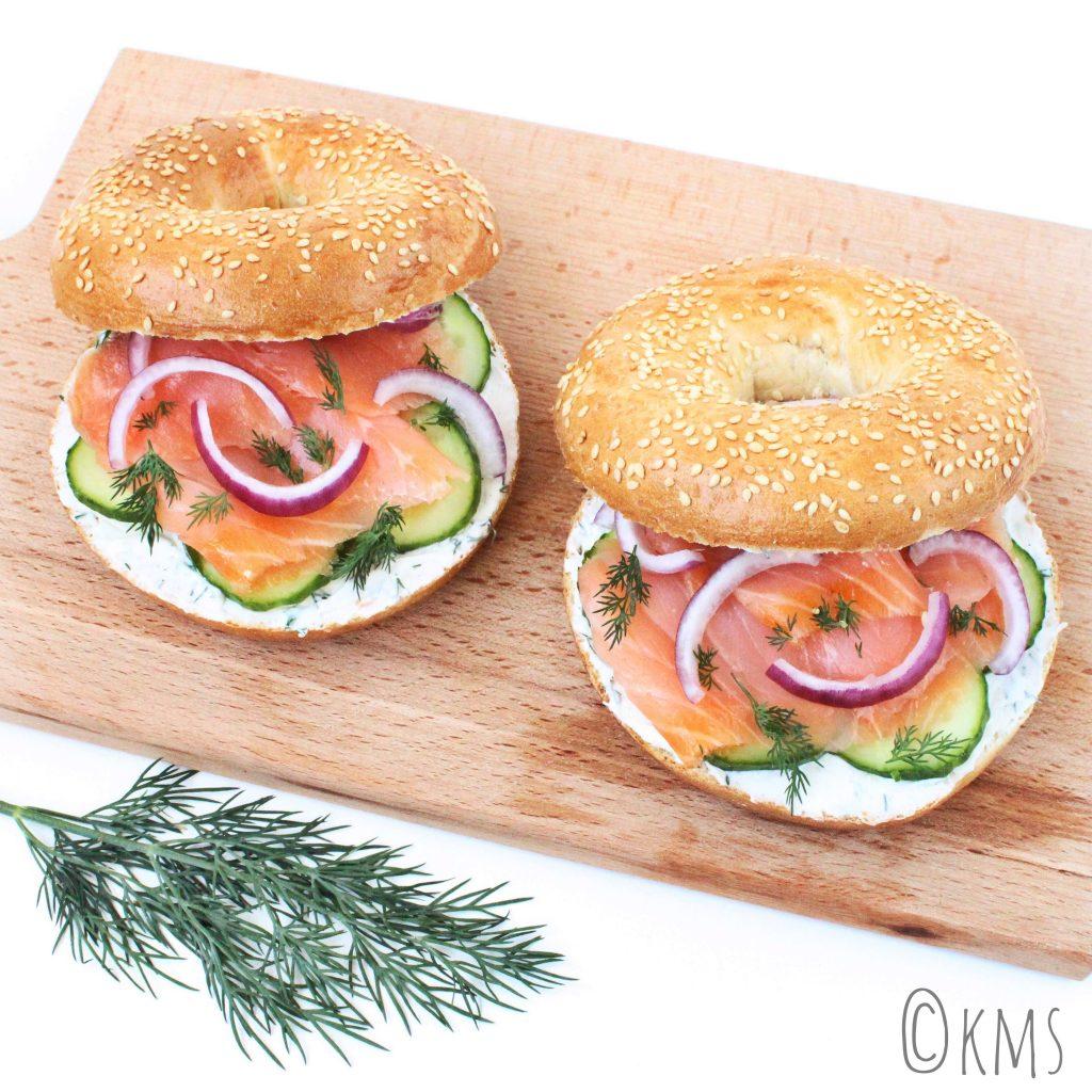 Ontbijt / lunch | bagels met gerookte zalm