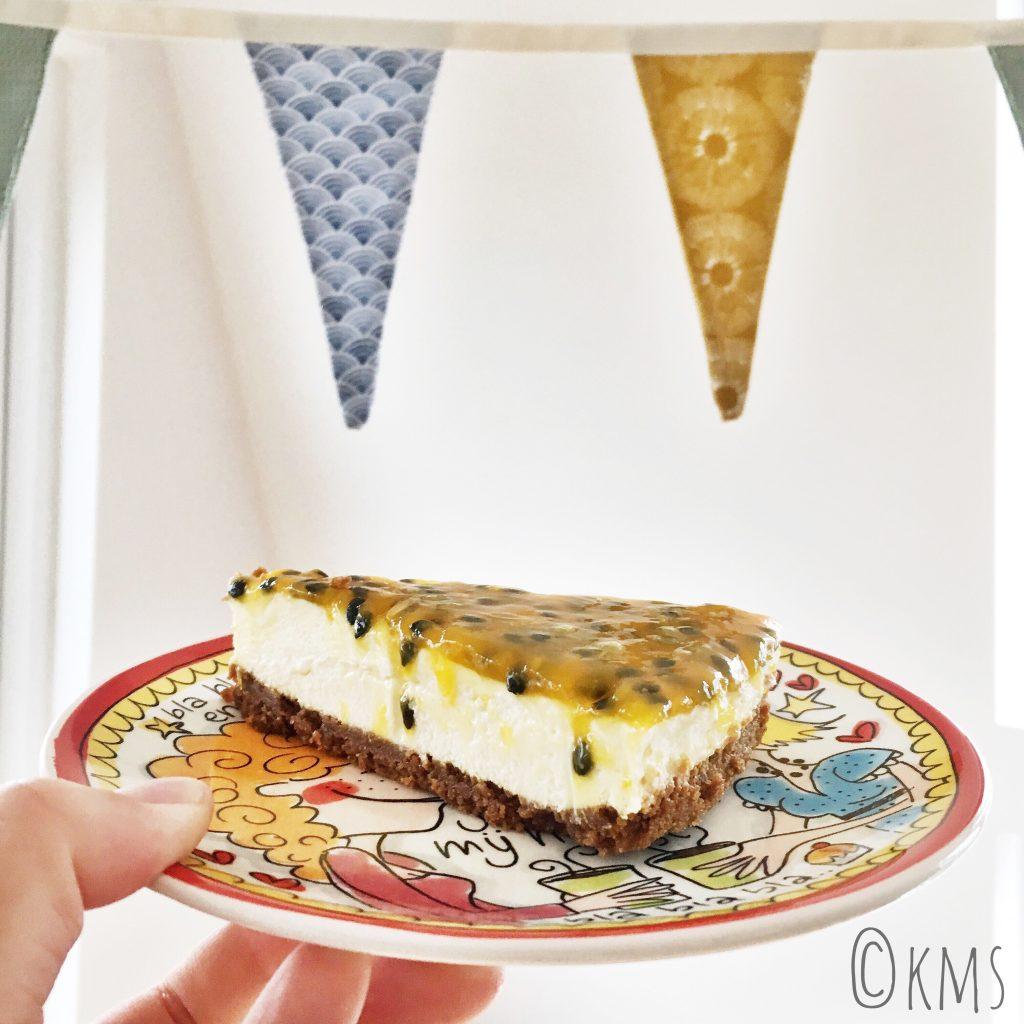 no bake cheesecake witte chocolade passievrucht