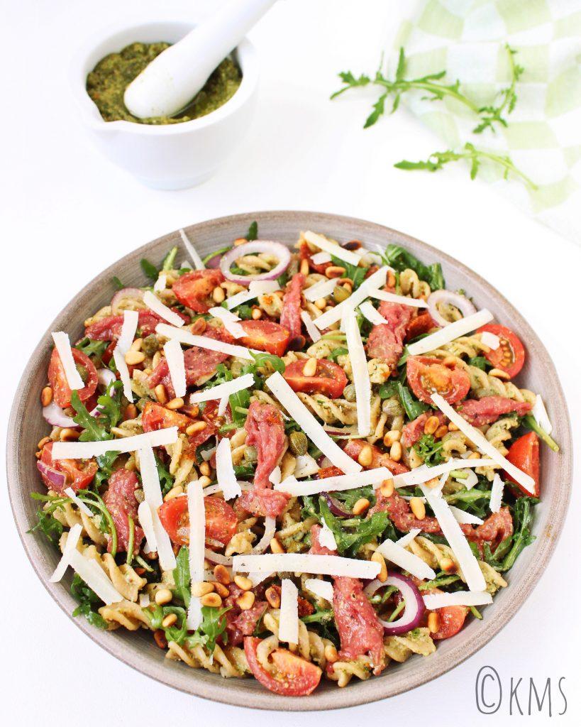 pastasalade met carpaccio