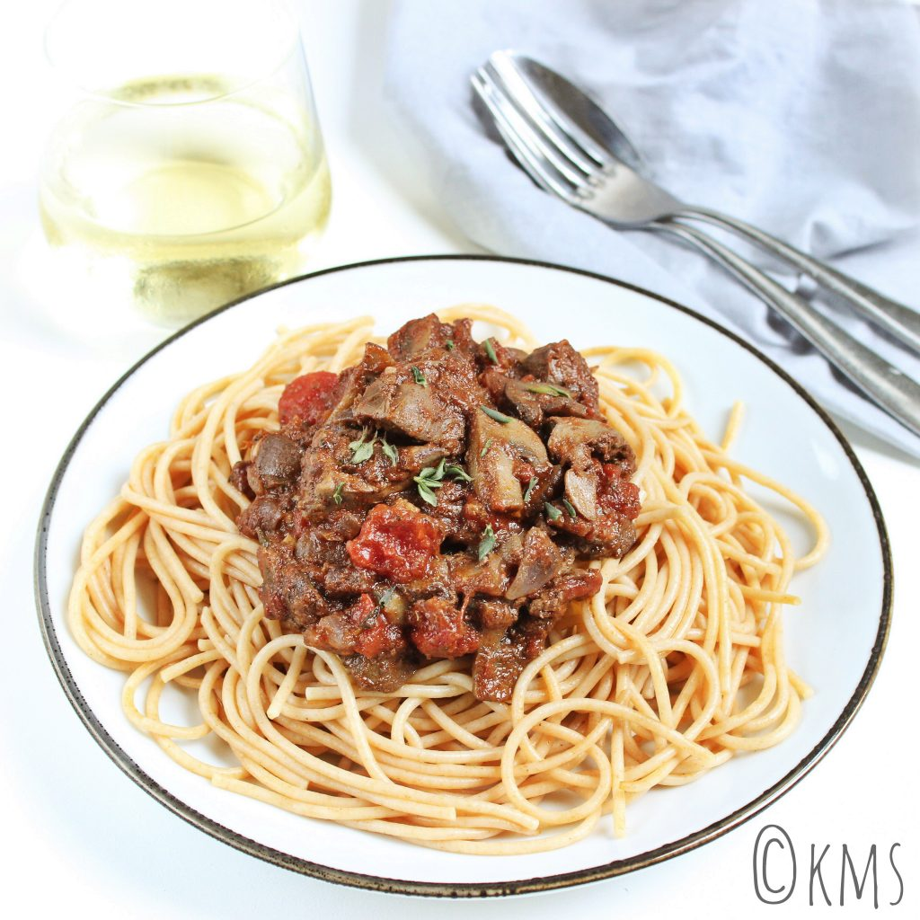 Pasta | spaghetti met kippenlevertjes