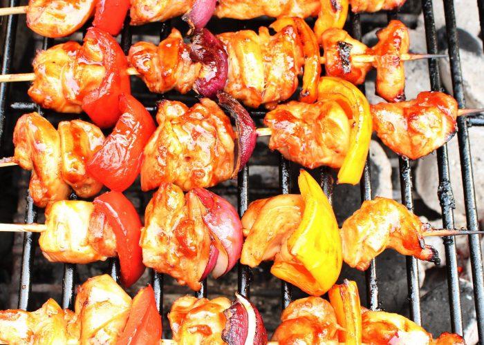 Kip paprika spiesen met honing glaze